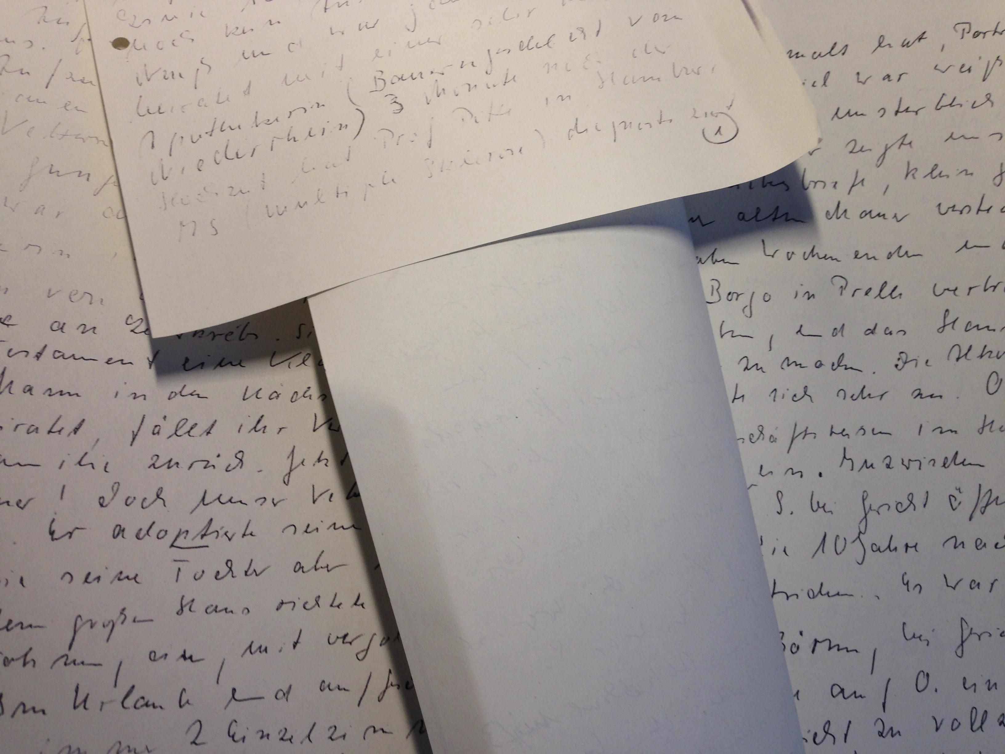 """Die Aufzeichnungen der Dame, der ich die Geschichte """"Mordkapelle"""" zu verdanken habe."""